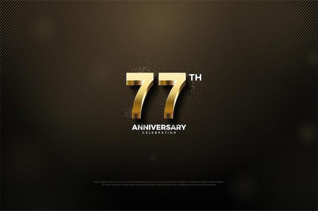 3d 골드 숫자가 있는 77주년 기념 배경