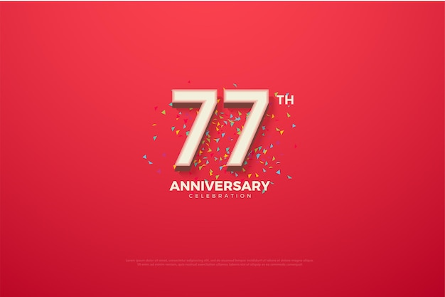 77-я годовщина фон с красочными цифрами и рисунками