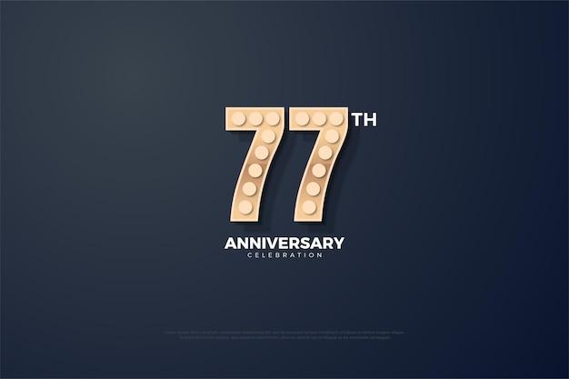 77-я годовщина фон с жесткими текстурированными цифрами