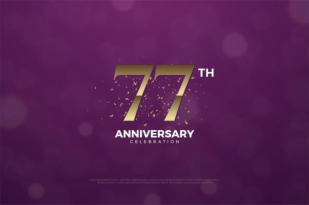 77-я годовщина фон с числами и простым дизайном