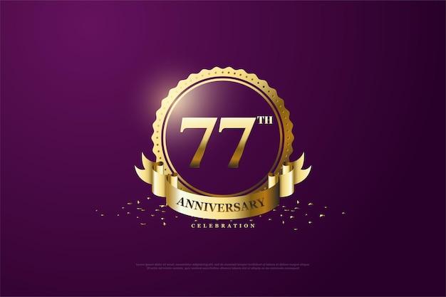 금 기호에 숫자가 있는 77주년 기념 배경