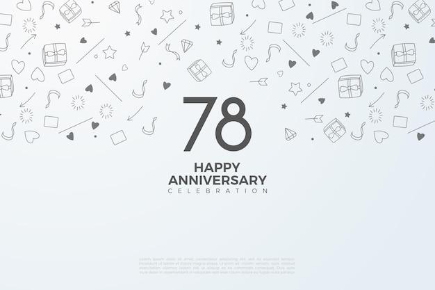 흰색 숫자에 검은색이 있는 78주년