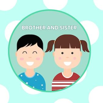 79. 귀여운 형제와 자매 만화 아이콘
