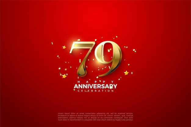 79th anniversary background with gold numbers