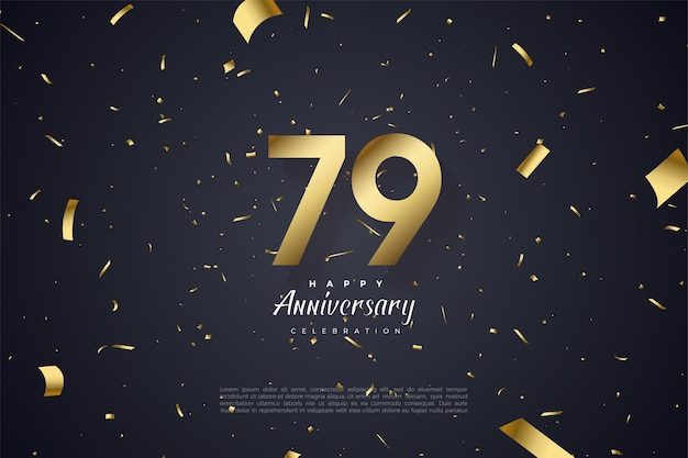 79th anniversary with golden number illustration