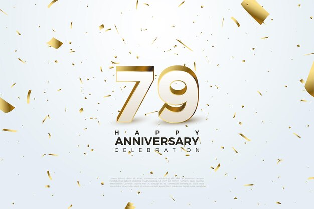 79th anniversary with scattered gold numbers and paper