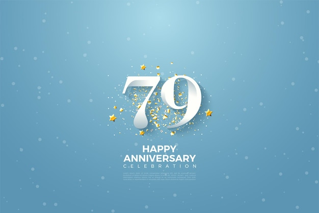 79th anniversary with sky background illustration