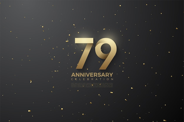 79th anniversary with soft patterned numbers