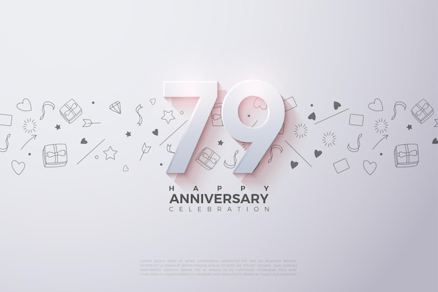 79th anniversary with soft shaded 3d numbers