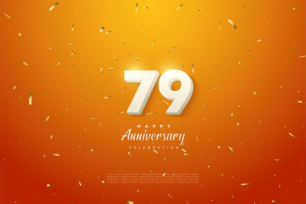 79th anniversary with white numeral overlay on orange background