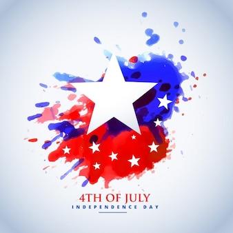 7月の第四の抽象水彩アメリカ国旗