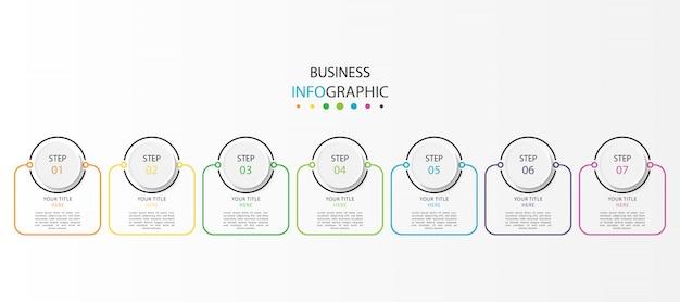 Бизнес график инфографики с 7 шагов или вариантов