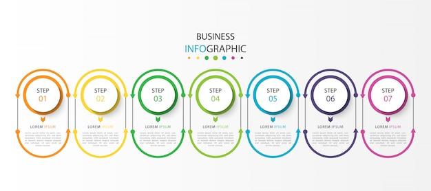 Бизнес инфографика с 7 шагами или вариантами