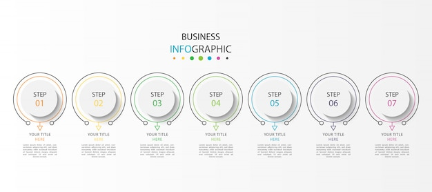 Инфографика визуализации бизнес-данных с 7 шагами