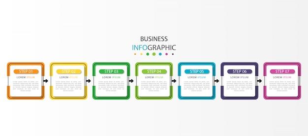 7つのステップまたはオプションを備えたモダンなタイムラインインフォグラフィック