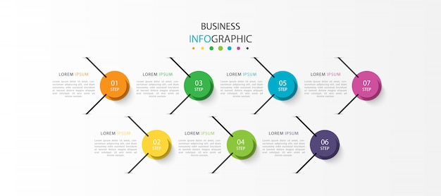 7つのステップまたはオプションを備えたインフォグラフィック