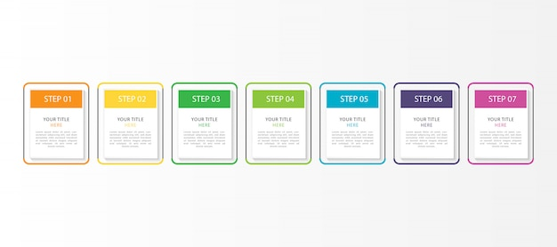 7つのステップまたはオプションのカラフルなインフォグラフィック