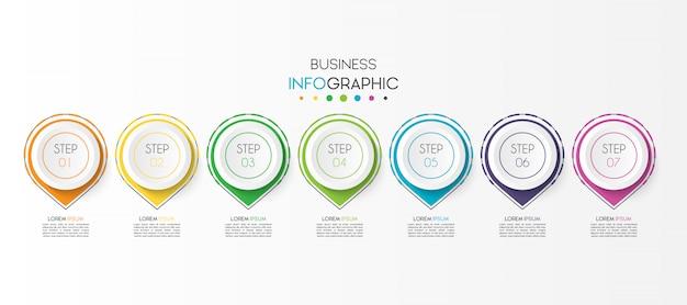 7オプションまたは手順を持つビジネスインフォグラフィック要素