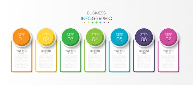 7つのオプションまたは手順を持つプレゼンテーションビジネスインフォグラフィックテンプレート