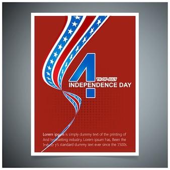 7月アメリカ独立の日のグリーティングカードの赤い背景四