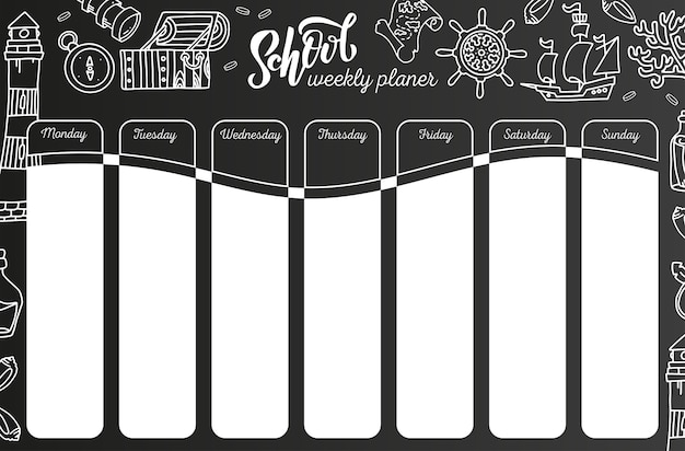 黒板に毎週のカレンダー。黒い黒板に7日間の計画。学校の時間割