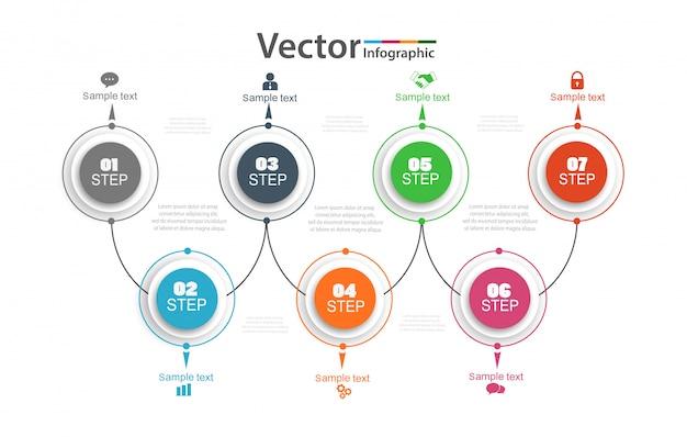 7つのオプションを持つタイムラインインフォグラフィック