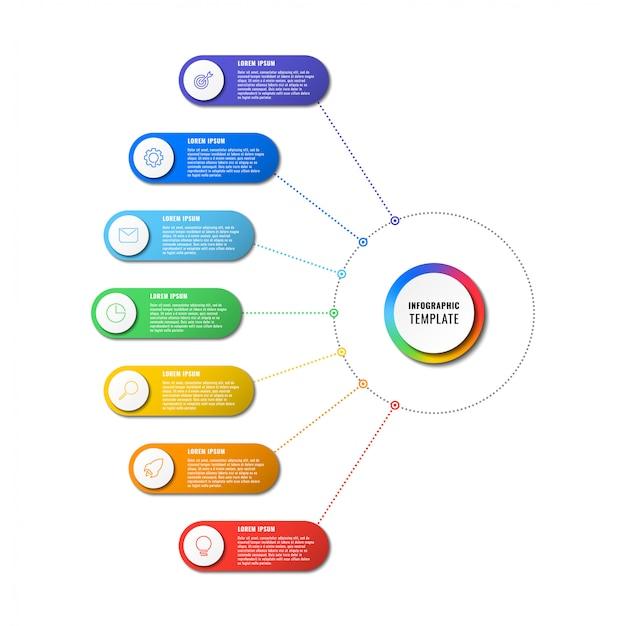 白い背景の上の7つのラウンド要素を持つインフォグラフィックテンプレート。細い線のマーケティングアイコンによる現代のビジネスプロセスの可視化。編集とカスタマイズが簡単。
