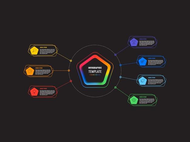 五角形と黒の背景に多角形の要素を持つ7つのステップインフォグラフィックテンプレート。細い線のマーケティングアイコンによる現代のビジネスプロセスの可視化。