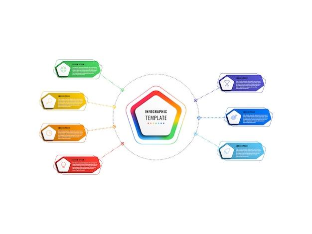 五角形と白い背景の上の多角形の要素を持つ7つのステップのインフォグラフィックテンプレート。細い線のマーケティングアイコンによる現代のビジネスプロセスの可視化。図