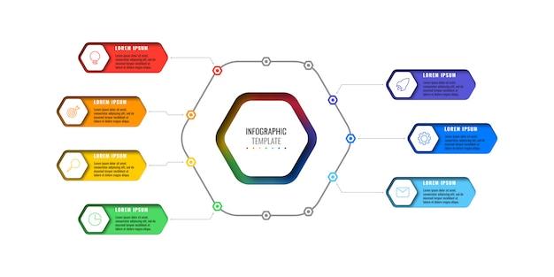 白い背景の上の細い線のアイコンと7つの現実的な六角形の要素を持つビジネスインフォグラフィックテンプレート。