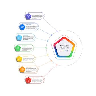 五角形と白い背景の多角形要素を持つ7つのステップインフォグラフィックテンプレート。細い線のマーケティングアイコンによる現代のビジネスプロセスの可視化。