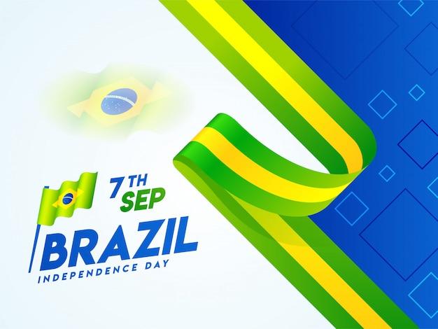 Креативный дизайн баннера или плаката с национальным флагом бразилии на 7 сентября