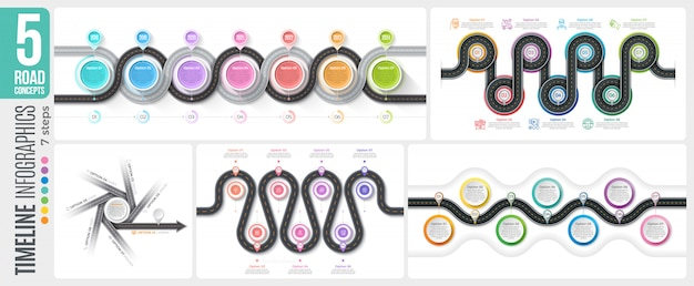 Навигационная карта 7 шагов временной шкалы инфографики концепции