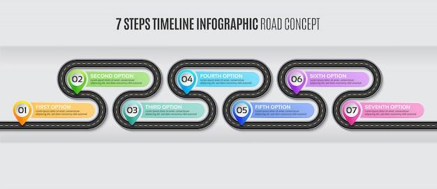 ナビゲーションマップインフォグラフィック7ステップタイムライン道路概念。