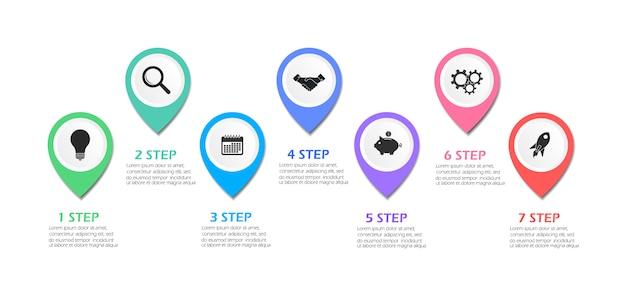 ビジネスインフォグラフィックテンプレート。ビジネスを始めるための7つのステップ。ベクトルイラスト。
