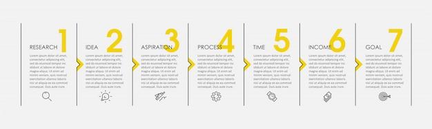 アイコンと7つのオプションまたは手順のインフォグラフィックの細い線のデザイン。ビジネスコンセプトのインフォグラフィック。