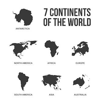 世界のシルエットアイコンの7つの大陸
