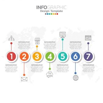7つのステップまたはオプションを含むタイムラインインフォグラフィック