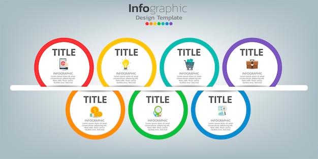 タイムラインインフォグラフィックデザインテンプレート。 7つのステップで創造的なコンセプト。