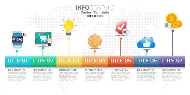 7オプションを持つタイムラインインフォグラフィックデザインテンプレート