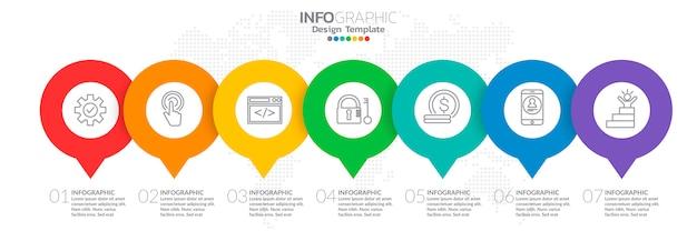 ビジネスコンセプトのアイコンと7つのオプションのインフォグラフィック。