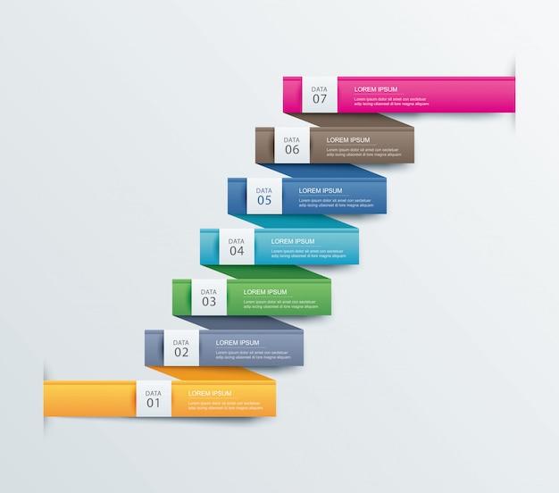 7つのデータステップインフォグラフィックタイムラインタブ紙インデックステンプレート。