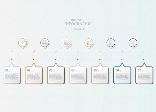 カラフルな7ボックステキストインフォグラフィックとアイコン。