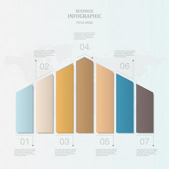 ビジネスコンセプトのグラフ7要素インフォグラフィックテンプレート。