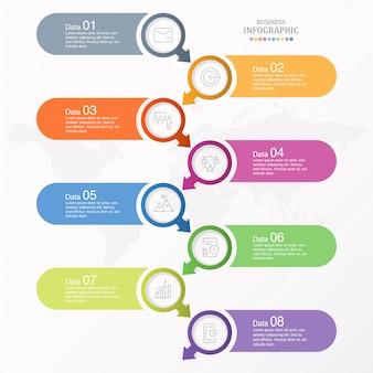 7プロセスインフォグラフィックとビジネスコンセプトのアイコン。