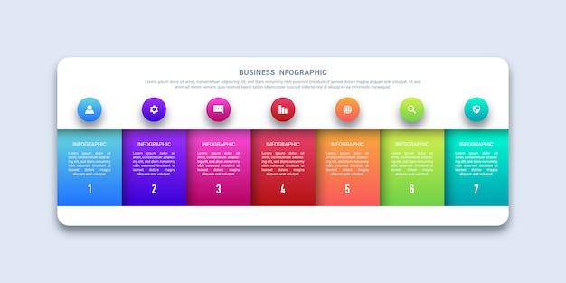 7つのステップビジネスインフォグラフィック