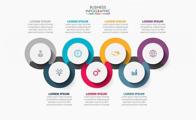 7つのオプションを持つプレゼンテーションビジネスインフォグラフィックテンプレート。