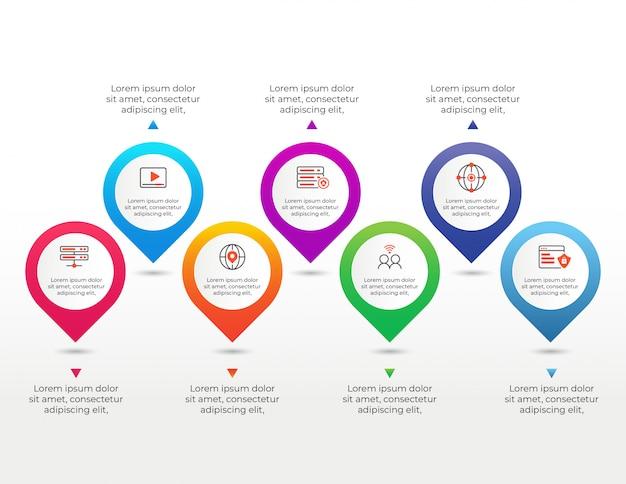 7つのオプションデータを持つインフォグラフィック要素