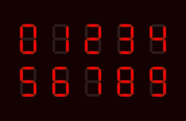 7つのセグメントで構成される赤いデジタル番号記号のセット