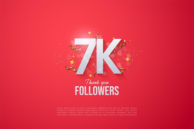 7k followers background with beautiful  numbers.